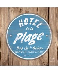 Tableau Hotel de la Plage Bleu 40 x 40