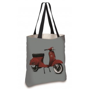 Cabas Scooter Rouge Gris 45x45