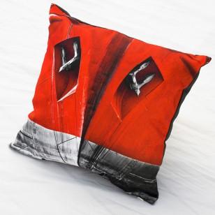 Coussin Ecubier Rouge Plisson 40 x 40